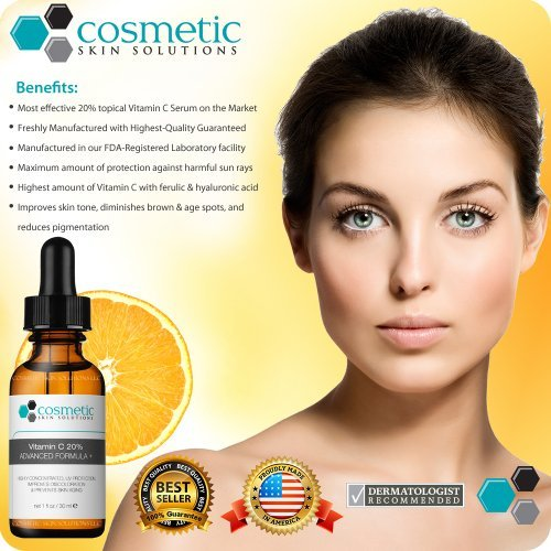 1 BEST Vitamin C 20 Serum Ferulic Acid Hyaluronic Acid For Maximum Anti Aging 100 Safe Effective Highly Concentrated Solution To Repair Protect Prevent Skin Aging No Parabens Or Oils Stimulate Collage 0 0