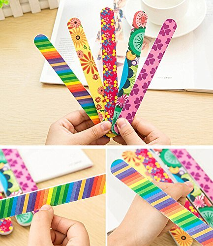 10 PCS Colorful Printing Style Professional Double Sided Nail Files Emery Board Grit Gel Cosmetic Manicure Pedicure 0 0