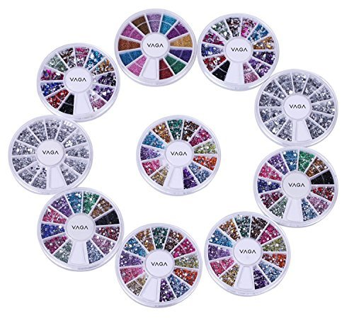 10 Wheels Premium Manicure Nail Art Decorations Total Of 15000 Gems By Cheeky®