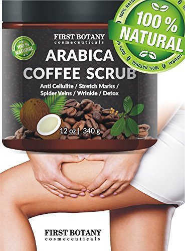 100 Natural Arabica Coffee Scrub 12 Oz With Organic Coffee Coconut And Shea Butter Best Acne Anti Cellulite And Stretch Mark Treatment Spider Vein Therapy For Varicose Veins Eczema 0 0