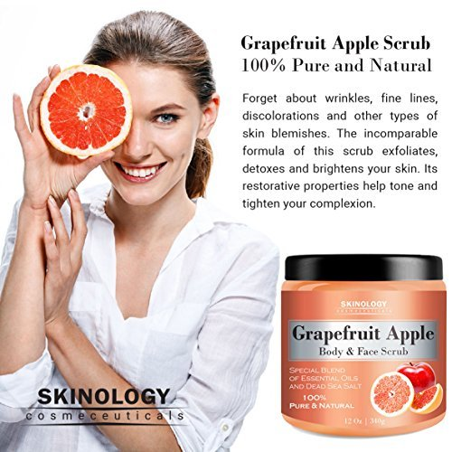 100 Natural Grapefruit Scrub For Face Body 12 Oz Powerful Body Scrub Exfoliator With Dead Sea Salt Vitamin E Essential Oils Facial Scrub Cleanser Daily Moisturizer For All Skin Types 0 0