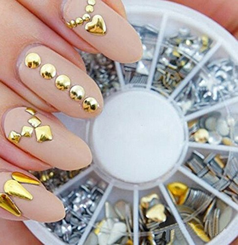 120Pcs Gold Silver Metal Nail Art Tips Fashion Metallic Studs Stickers 0 0