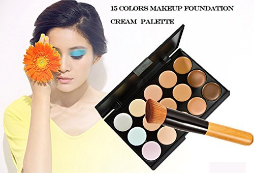 15 Colors Makeup Concealer Foundation Cream Cosmetic Palette Set Tools With Brush 0 0