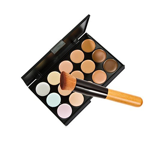 15 Colors Makeup Concealer Foundation Cream Cosmetic Palette Set Tools With Brush