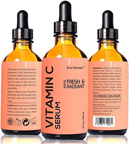 2 Oz Vitamin C Serum – Facelift In A Bottle #1 – 100% Vegan Anti Aging Facial Serum – SEE RESULTS OR MONEY-BACK – Big 2 Ounce (Twice The Size) With The Same Premium Ingredients.
