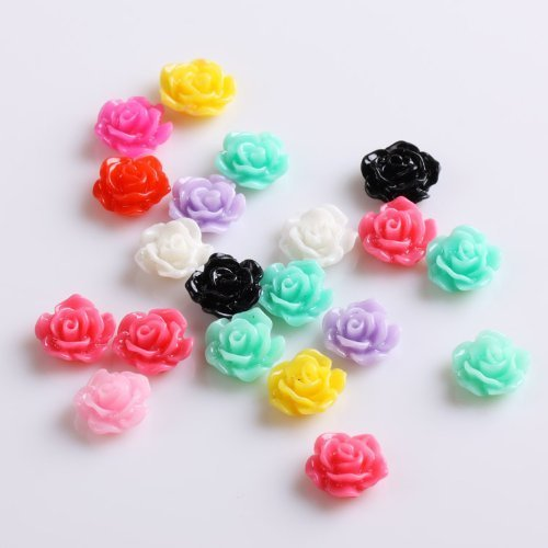 350buy 20pcs new colorful acrylic 3d rose flower slices uv for Acrylic nail decoration supplies