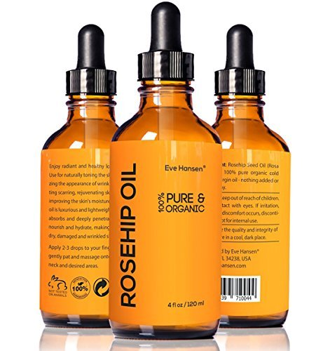 4oz Organic Rosehip Oil – BIG 4 OUNCE! – 100% Pure & Certified Organic Cold Pressed – SEE RESULTS OR YOUR MONEY-BACK – Heals Dry Skin, Fine Lines, Acne Scars, Eczema, Psoriasis, Sun Damage & More!
