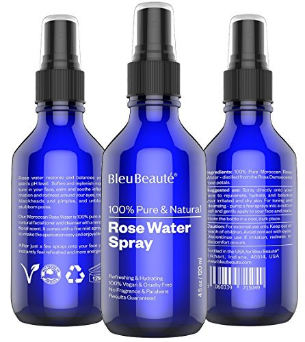 8 OZ ROSE WATER By Bleu Beauté – 100% Pure Facial Toner With A Tender Floral Scent – SPRAYER
