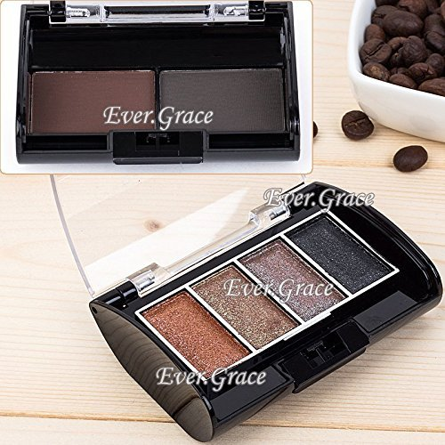 6 Colors Shimmer Eyeshadow + Eyebrow Powder Palette Eye Shadow Brow Neutral Warm