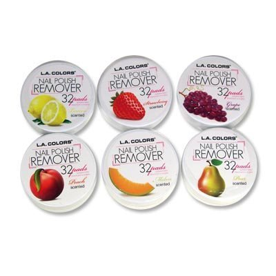 6 LA Colors Nail Polish Remover Pads Aceton Free Fruit Scent 6 Different Ones (Total 199 PADSs