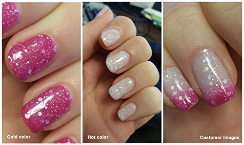 Aimeili Soak Off Uv Led Temperature Color Changing Chameleon Gel Nail Polish Hot Pink To Glitter