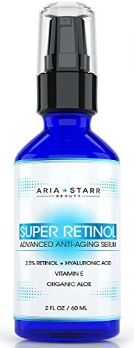 Aria Starr 25 Retinol Serum 2 FL OZ With Hyaluronic Acid Vitamin E Aloe Jojoba Oil Green Tea Best Natural Skin Care Product For Anti Aging Anti Wrinkle Acne Face Neck Eye Treatment 0 0