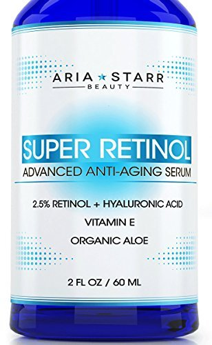 Aria Starr 2.5% Retinol Serum – 2 FL OZ – With Hyaluronic Acid, Vitamin E, Aloe, Jojoba Oil, Green Tea – Best Natural Skin Care Product For Anti Aging Anti Wrinkle, Acne Face, Neck & Eye Treatment