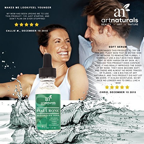 ArtNaturals Hyaluronic Acid Serum 1 Oz BEST Anti Aging Skin Care Product For Face Clinical Strength With Vitamin C Serum Vitamin E Green Tea Reduces Wrinkles More For Youthful Radiant Skin 0 0