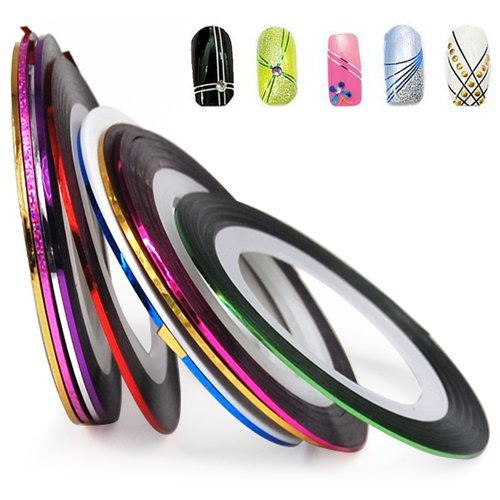 BONAMART–World Pride Nail Tape Stripe Decoration Sticker Hologram Set Of 10 0