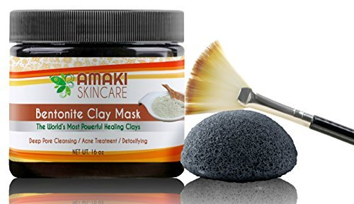Bentonite Clay Mud Mask With BONUS Konjac Sponge With Activated Bamboo Charcoal & Applicator Brush ♥ Amazing Adult Acne Treatment & Blackhead Remover That Unclogs & Minimizes Pores ♥ Great Skincare Treatment To Use On Face & Body.
