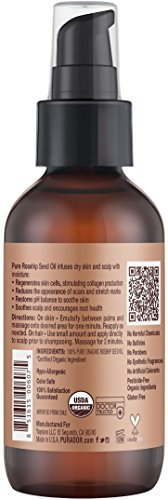 PURA DOR Rosehip Seed Oil 100 Pure USDA Organic For Face Hair Skin Nails 4 Fluid Ounce 0 0