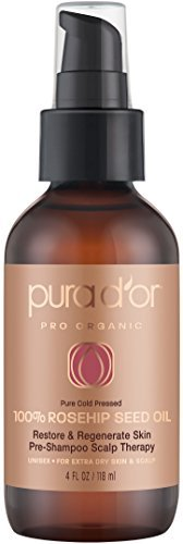 PURA D'OR Rosehip Seed Oil 100% Pure & USDA Organic For Face, Hair, Skin & Nails, 4 Fluid Ounce