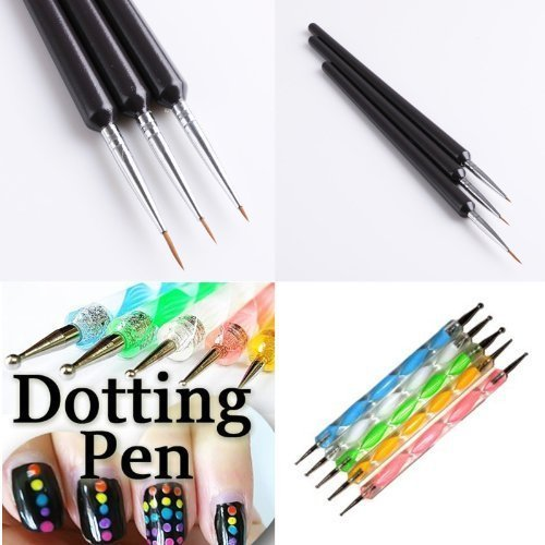 350buy 5 X 2 Way Marbleizing Dotting Pen Set+Professional Nail Art Brushes- Sable Nail Art Brush Pen, Detailer, Liner **Set Of 3