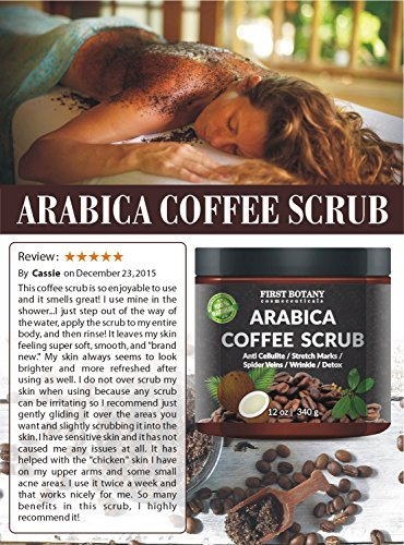 100 Natural Arabica Coffee Scrub With Organic Coffee Coconut And Shea Butter Best Acne Anti Cellulite And Stretch Mark Treatment Spider Vein Therapy For Varicose Veins Eczema 0 1