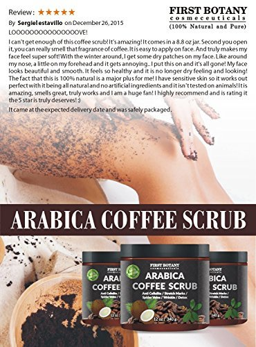 100 Natural Arabica Coffee Scrub With Organic Coffee Coconut And Shea Butter Best Acne Anti Cellulite And Stretch Mark Treatment Spider Vein Therapy For Varicose Veins Eczema 0 3
