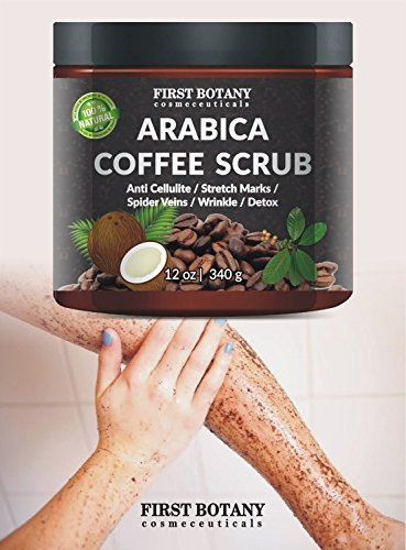 100 Natural Arabica Coffee Scrub With Organic Coffee Coconut And Shea Butter Best Acne Anti Cellulite And Stretch Mark Treatment Spider Vein Therapy For Varicose Veins Eczema 0 4