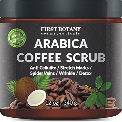 100% Natural Arabica Coffee Scrub With Organic Coffee, Coconut And Shea Butter – Best Acne, Anti Cellulite And Stretch Mark Treatment, Spider Vein Therapy For Varicose Veins & Eczema