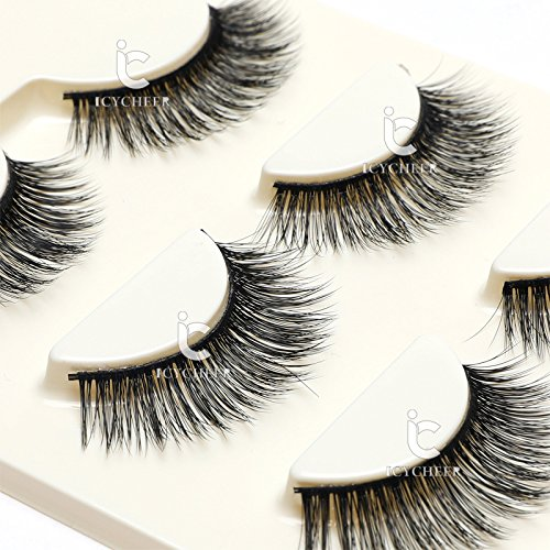 3 Pairs Long Cross False Eyelashes Makeup Natural 3D Fake Thick Black Eye Lashes Icycheer Soft Fake Lash 0 0