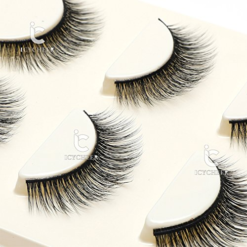 3 Pairs Long Cross False Eyelashes Makeup Natural 3D Fake Thick Black Eye Lashes Icycheer Soft Fake Lash 0 2