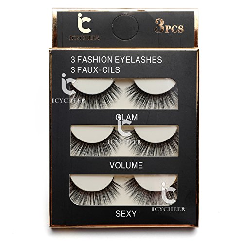3 Pairs Long Cross False Eyelashes Makeup Natural 3D Fake Thick Black Eye Lashes Icycheer Soft Fake Lash 0 4
