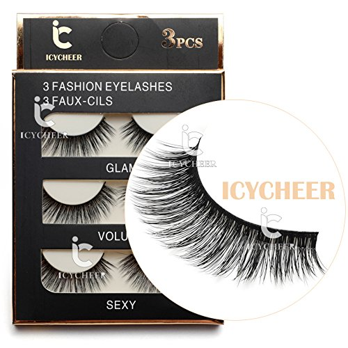 3 Pairs Long Cross False Eyelashes Makeup Natural 3D Fake Thick Black Eye Lashes Icycheer Soft Fake Lash 0