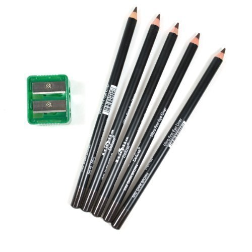 5 DARK BROWN ITALIA EYE LIP LINER PENCIL 1002 SET FREE SHARPENER FREE EARRING 0