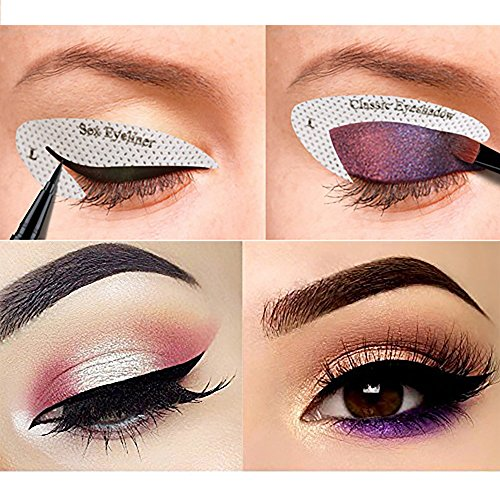 64 pairs eyeliner stencil stickers smoky eyeshadow applicators template plate for everyone from. Black Bedroom Furniture Sets. Home Design Ideas