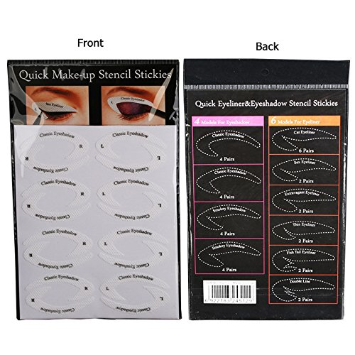 64 Pairs Eyeliner Stencil Stickers Smoky Eyeshadow Applicators Template Plate For Everyone From Beginner To Professionals Pro Beauty Quickly Makeup Guide Template 0 1