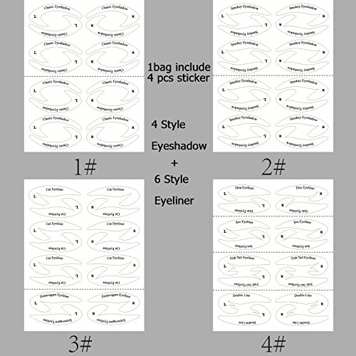 64 Pairs Eyeliner Stencil Stickers Smoky Eyeshadow Applicators Template Plate For Everyone From Beginner To Professionals Pro Beauty Quickly Makeup Guide Template 0 3
