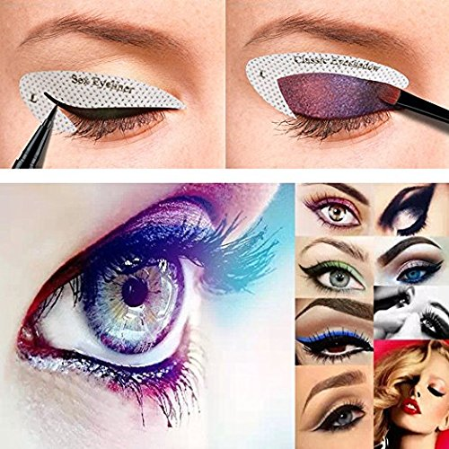 64 Pairs Eyeliner Stencil Stickers Smoky Eyeshadow Applicators Template Plate For Everyone From Beginner To Professionals Pro Beauty Quickly Makeup Guide Template 0 5