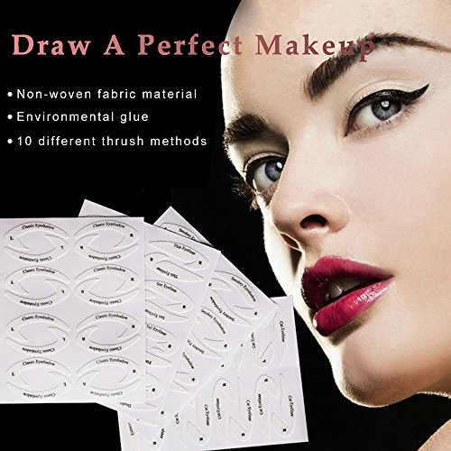 64 Pair Beauty Makeup Eyeliner Stickies Stencil Smokey Shaper Eyeshadow Drawing Guide Stencil For Classic Eye Liner Template Plate Makeup Tool 0 0