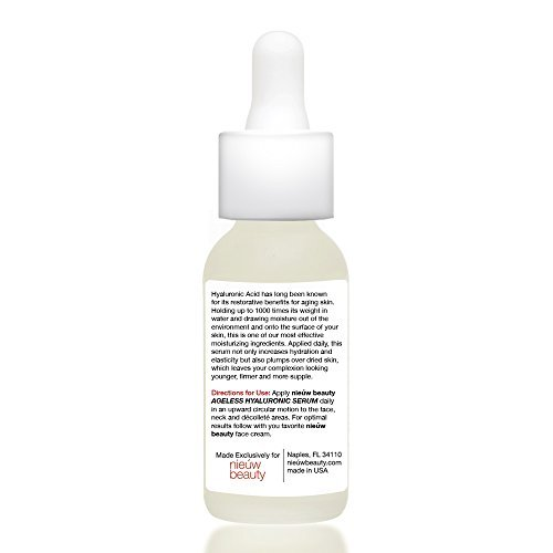 AGELESS HYALURONIC SERUM By Nieuw Beauty Anti Aging Hydrating Serum For Women And Men Botanically Derived Hyaluronic Acid Non Greasy With Instant Hydration And Plumping All Skin Types 0 1