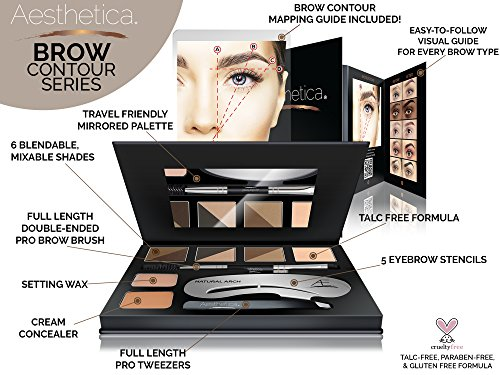 Aesthetica Brow Contour Kit 16 Piece Eyebrow Makeup Palette 6 Brow Powders 5 Brow Stencils SpoolieBrush Duo Tweezers Brow Wax Highlighter Concealer Instructions 0 0
