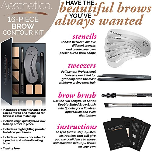 Aesthetica Brow Contour Kit 16 Piece Eyebrow Makeup Palette 6 Brow Powders 5 Brow Stencils SpoolieBrush Duo Tweezers Brow Wax Highlighter Concealer Instructions 0 1