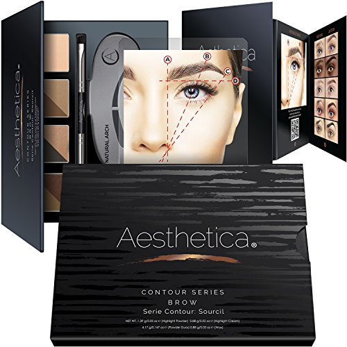 Aesthetica Brow Contour Kit – 16-Piece Eyebrow Makeup Palette – 6 Brow Powders, 5 Brow Stencils, Spoolie/Brush Duo, Tweezers, Brow Wax, Highlighter, Concealer & Instructions
