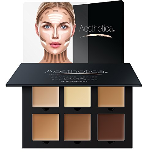 Aesthetica Cosmetics Cream Contour And Highlighting Makeup Kit – Contouring Foundation / Concealer Palette – Vegan, Cruelty Free & Hypoallergenic – Step-by-Step Instructions Included