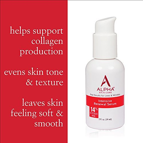 Alpha Skin Care Intensive Renewal Serum 14 Glycolic AHA Real Results For Lines And Wrinkles Fragrance Free And Paraben Free 2 Ounce 0 2