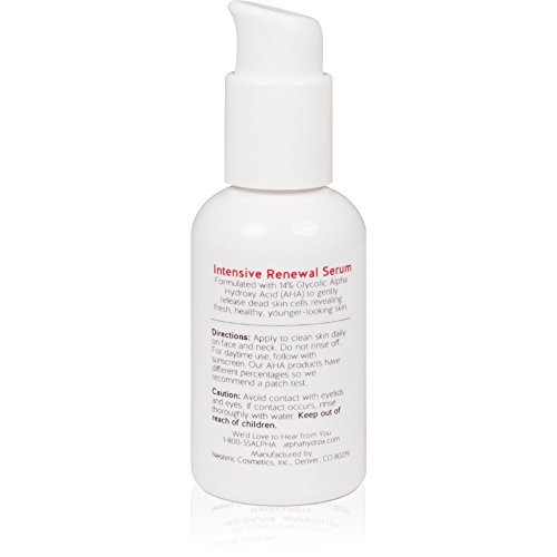 Alpha Skin Care Intensive Renewal Serum 14 Glycolic AHA Real Results For Lines And Wrinkles Fragrance Free And Paraben Free 2 Ounce 0 6