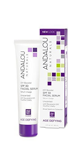 Andalou Naturals DIY Booster SPF 30 Facial Serum Unscented 2 Oz Lightweight Blends With Moisturizer For Dry Skin Fine Lines Wrinkles 0