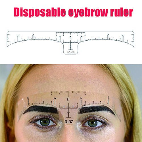 DJDZ 50pcs Disposable Soft Accurate Eyebrow Ruler Sticker Microblading Makeup Tools ,Adhesive Eyebrow Measurement Ruler Template Stencil Sticker For Tattoo